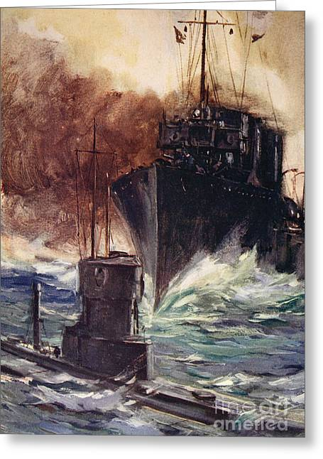 Wwi Greeting Cards - HMS Badger ramming a German submarine Greeting Card by Cyrus Cuneo