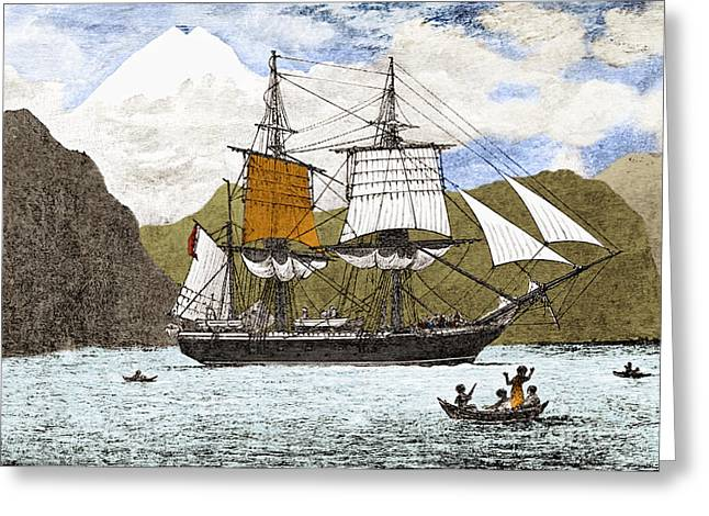 Surveying Greeting Cards - Hms Beagle, 1830s Greeting Card by Omikron/Science Source