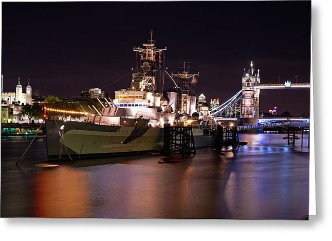 Dungeons Greeting Cards - HMS Belfast At Night Greeting Card by Michael Stretton