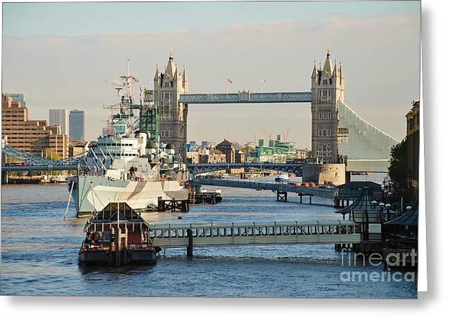 Recently Sold -  - Historic Ship Greeting Cards - HMS Belfast London Greeting Card by David Fowler