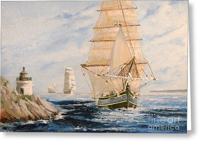 Seacape Greeting Cards - HMS Bounty Passing Castle Hill Light Greeting Card by Glenn Secrest