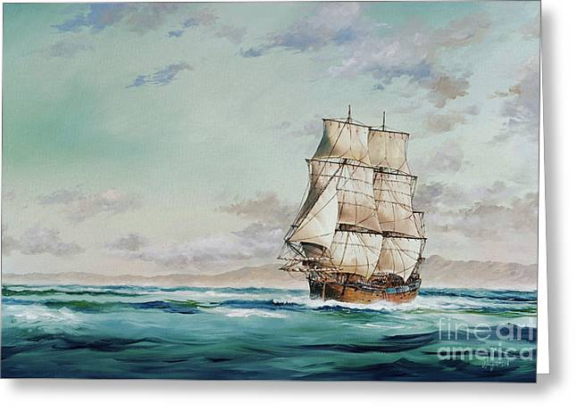 Tall Ship Canvas Greeting Cards - HMS Endeavour Greeting Card by James Williamson