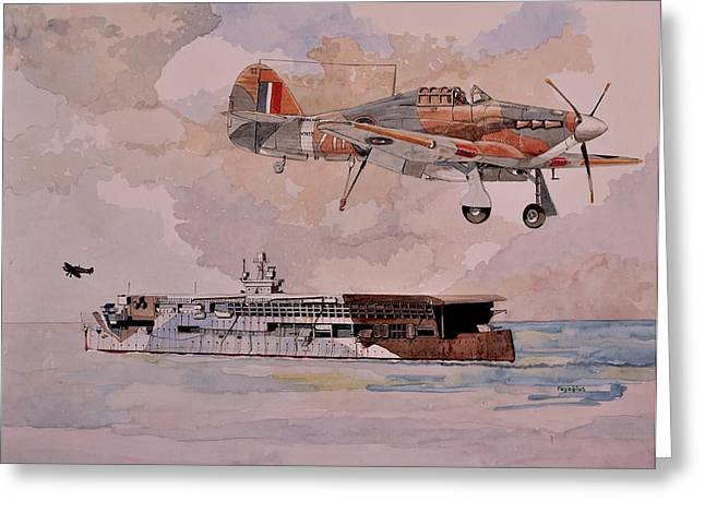 Carrier Drawings Greeting Cards - HMS Furious Greeting Card by Ray Agius