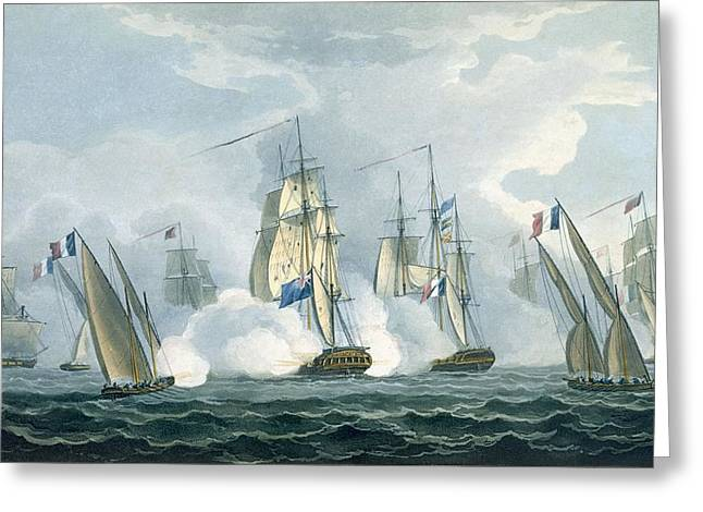 Battleships Greeting Cards - Hms Sirius, Captain Rowse Engaging Greeting Card by Thomas Whitcombe