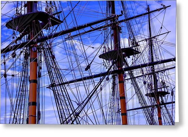 Rope Greeting Cards - HMS Surprise Rigging Greeting Card by Garry Gay
