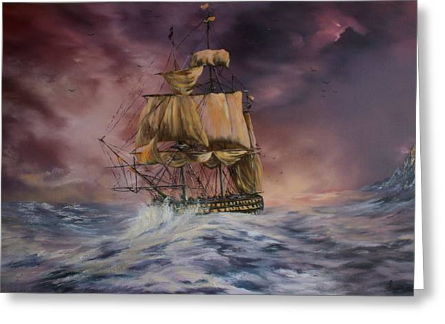 Turbulent Skies Paintings Greeting Cards - H.M.S Victory Greeting Card by Jean Walker