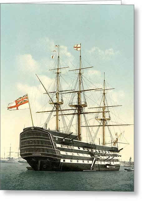 First-rate Greeting Cards - HMS Victory, Portsmouth, 1890s Greeting Card by Science Photo Library