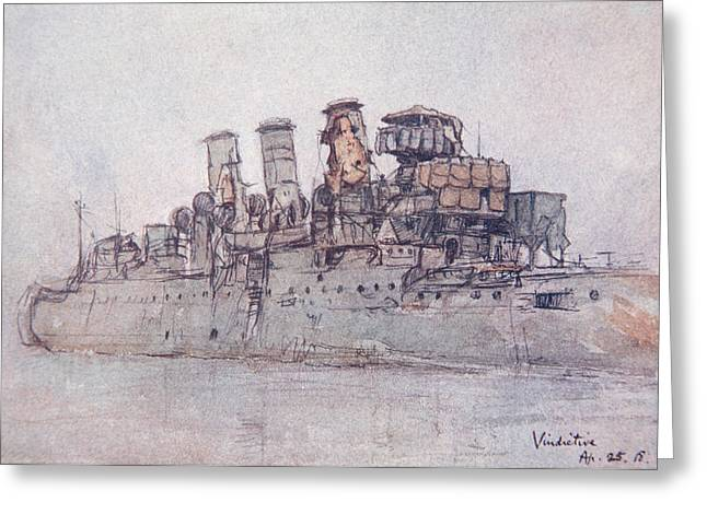 Signature Drawings Greeting Cards - HMS Vindictive Greeting Card by Donald Maxwell