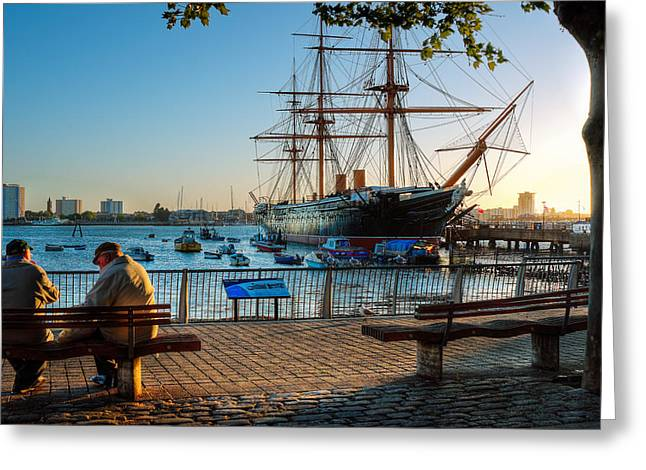 Historic Ship Greeting Cards - H.M.S. Warrior at sunset Greeting Card by Trevor Wintle