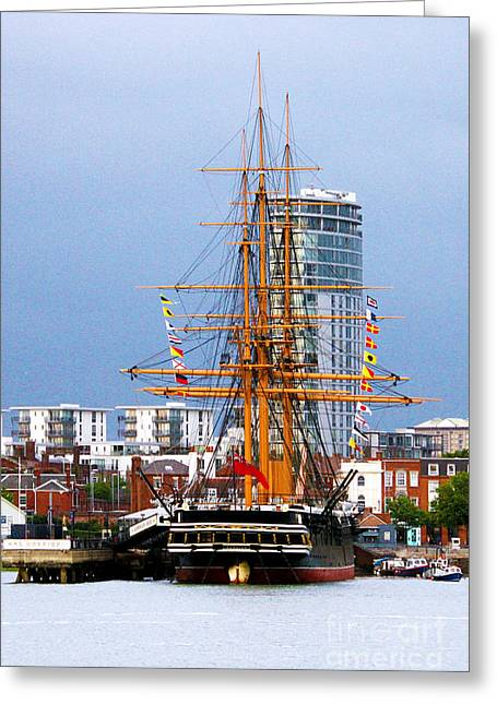Sea Platform Greeting Cards - HMS Warrior Portsmouth Greeting Card by Terri  Waters