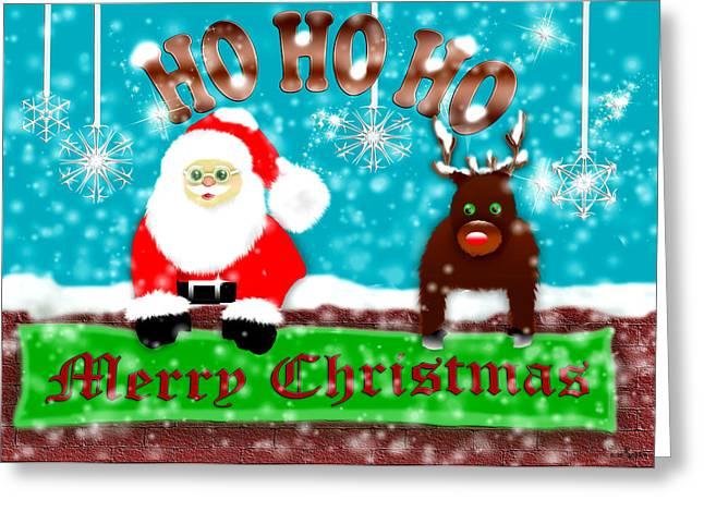 Rudolph Digital Art Greeting Cards - Ho Ho Ho Merry Christmas Greeting Card by Mechala  Matthews