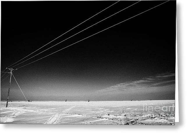 Beam Pump Greeting Cards - Hoar Frost Covered Electricity Transmission Lines Snow Covered Prairie Agricultural Farming Land Wit Greeting Card by Joe Fox