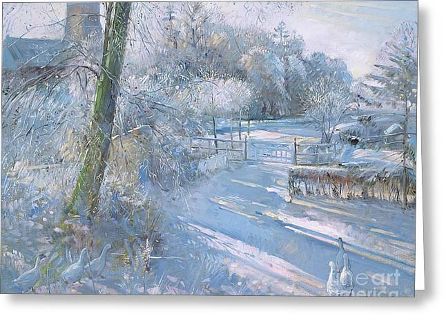 Country Church Greeting Cards - Hoar Frost Morning Greeting Card by Timothy  Easton
