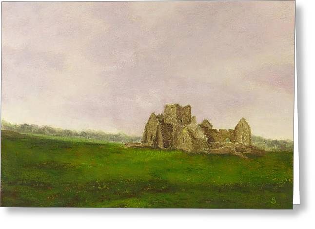 Ruins Pastels Greeting Cards - Hoare Abbey in Cashel Ireland Greeting Card by Stacey David