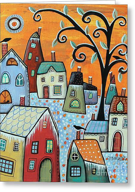 Snow Tree Prints Paintings Greeting Cards - Hoarfrost Greeting Card by Karla Gerard