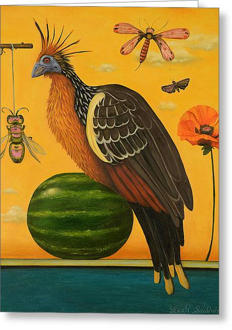 Watermelon Greeting Cards - Hoatzin 2 Greeting Card by Leah Saulnier The Painting Maniac