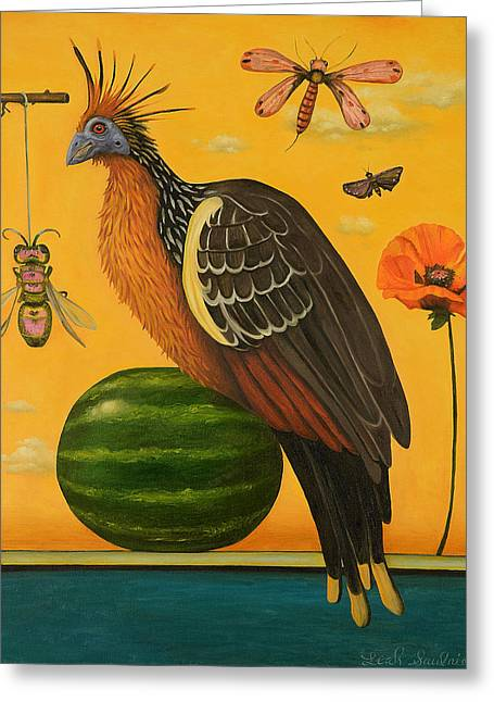 Recently Sold -  - Watermelon Greeting Cards - Hoatzin 2 Greeting Card by Leah Saulnier The Painting Maniac