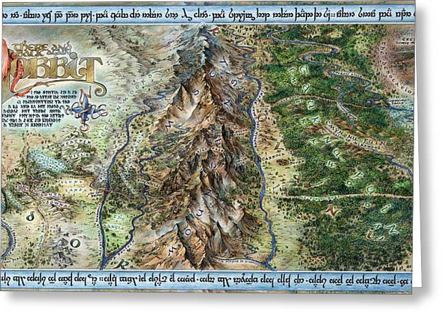 Misty. Drawings Greeting Cards - Hobbit Map Greeting Card by Tom Koval