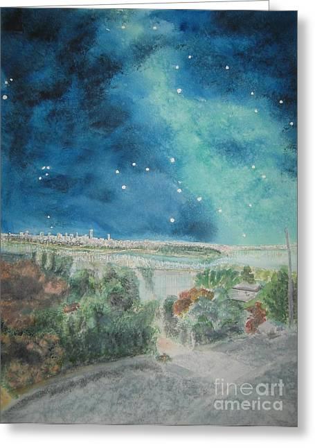 Lions Gate Bridge Paintings Greeting Cards - Hobbit Tolkien Inside the ElvenKings Gate Greeting Card by Glen McDonald