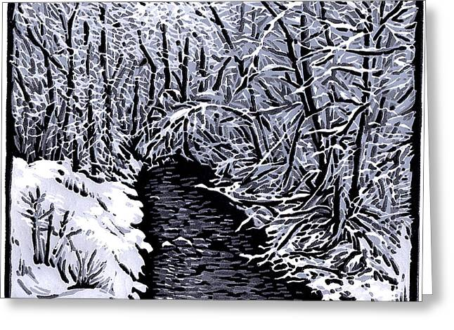 Linocut Paintings Greeting Cards - Hobble Creek - Linocut Print Greeting Card by Manny Mellor