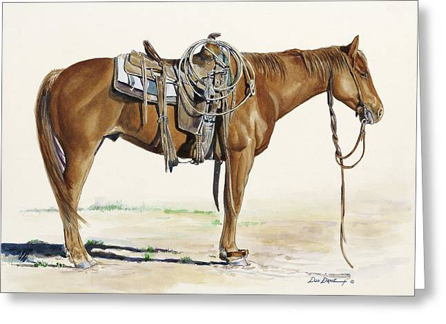 Horse Rider Greeting Cards - Hobbled Greeting Card by Don Dane
