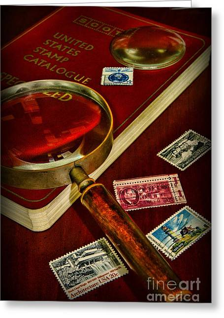 Old Stamps Greeting Cards - Hobby  Stamp Collecting Greeting Card by Paul Ward