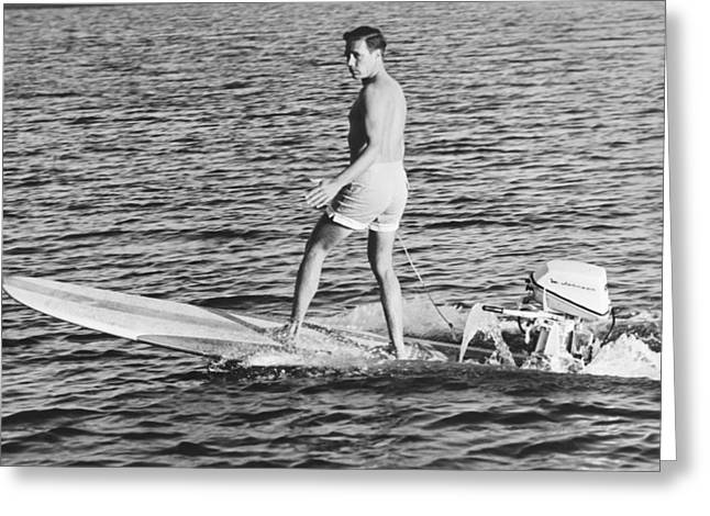 Hobie Alter Surfboard Motor Greeting Card by Underwood Archives