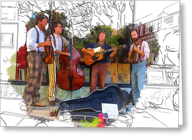 Hobo Busker Band Greeting Card by John Haldane