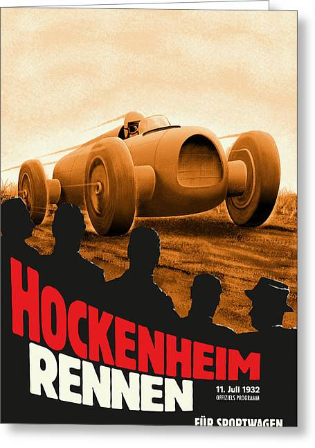 Icon Reproductions Greeting Cards - Hockenheim Rennen 1932 Greeting Card by Nomad Art And  Design
