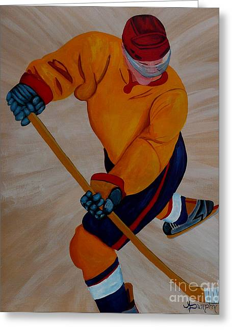 Hockey Paintings Greeting Cards - Hockey Greeting Card by Anthony Dunphy