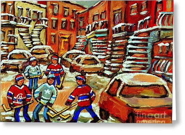 Hockey Scenes Of Verdun Greeting Cards - Hockey Art Home Team Advantage Streets Of Montreal Paintings Of Verdun Winter City Scenes  Greeting Card by Carole Spandau