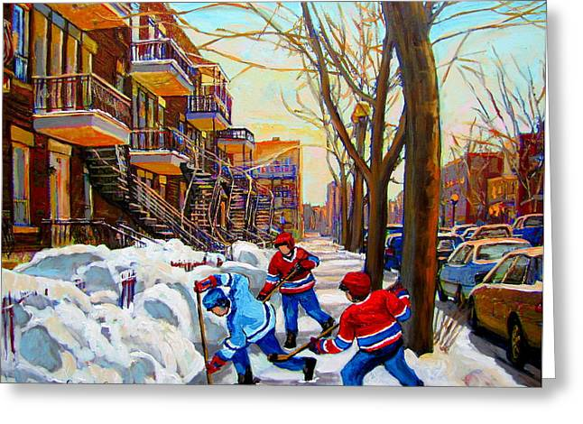 Montreal Winter Scenes Paintings Greeting Cards - Hockey Art - Paintings Of Verdun- Montreal Street Scenes In Winter Greeting Card by Carole Spandau