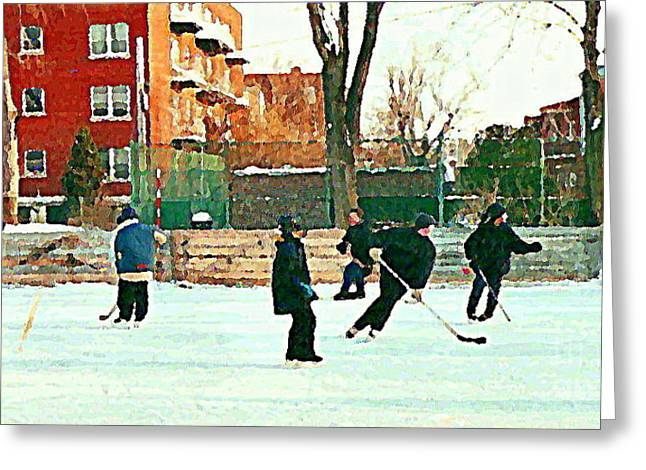 Shimmy Greeting Cards - Hockey Art Shimmy Game Local Rink Montreal Paintings Winter Street Scene Verdun Art Carole Spandau Greeting Card by Carole Spandau