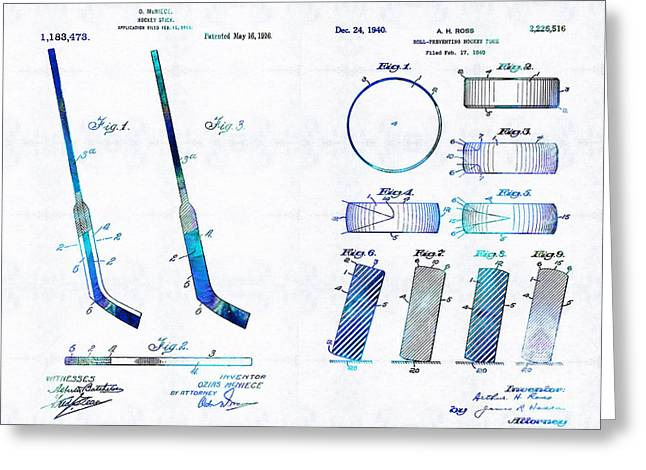 Los Angeles Drawings Greeting Cards - Hockey Art - Stick and Puck - Sharon Cummings Greeting Card by Sharon Cummings