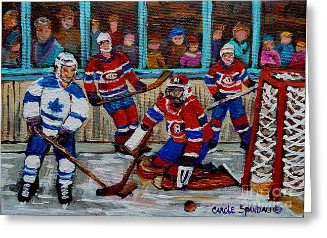 Carole Spandau Art Of Hockey Paintings Greeting Cards - Hockey Art Vintage Game Montreal Forum Greeting Card by Carole Spandau