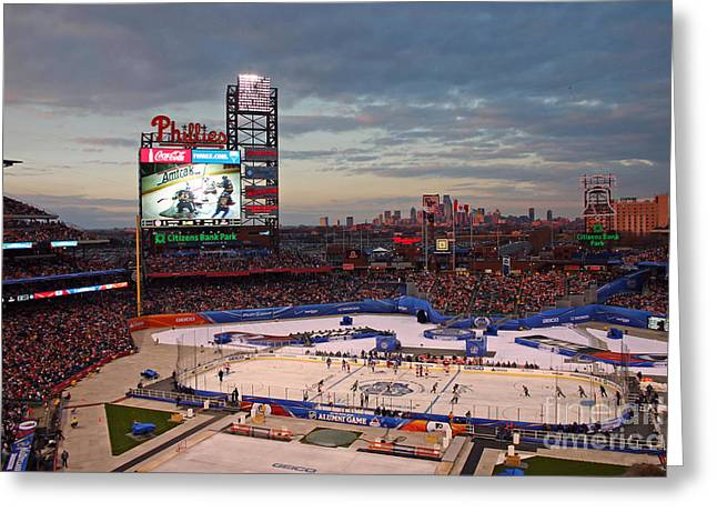 Ranger Greeting Cards - Hockey at the Ballpark Greeting Card by David Rucker