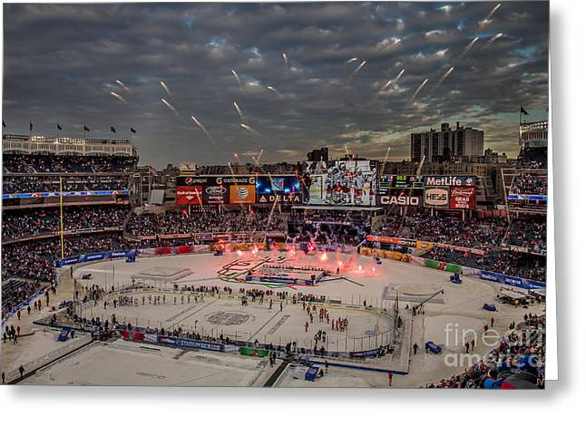 Hockey Greeting Cards - Hockey at Yankee Stadium Greeting Card by David Rucker