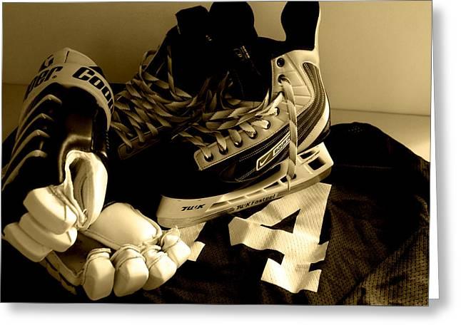 Ice-skating Greeting Cards - Hockey Black and White Greeting Card by John Turner