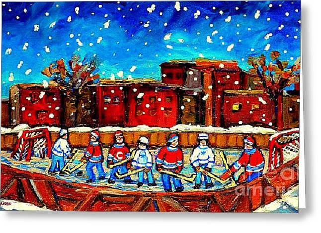 Hockey Collectible Art Cards And Prints A Snowy Day At The Neighborhood Rink Verdun Montreal Art Greeting Card by Carole Spandau