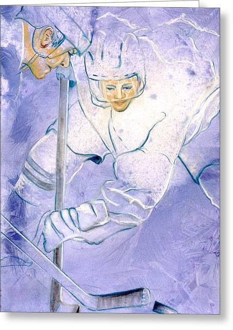 Hockey Paintings Greeting Cards - Hockey drama Greeting Card by Rosemary Hayes