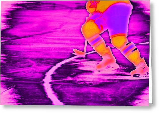 Ice-skating Greeting Cards - Hockey Freeze Greeting Card by Karol  Livote