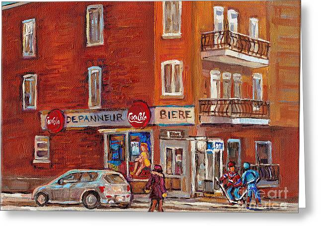 Outdoor Hockey Greeting Cards - Hockey Game At Corner Store-montreal Depanneur-city Scene Painting-carole Spandau Greeting Card by Carole Spandau