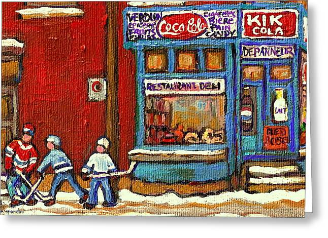 Hockey Game At The Corner Kik Cola Depanneur  Resto Deli  - Verdun Winter Montreal Street Scene  Greeting Card by Carole Spandau