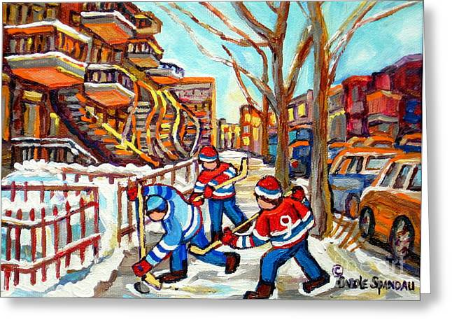 Hockey Paintings Greeting Cards - Hockey Game Near Montreal Staircases Winter Scenes Paintings Carole Spandau Greeting Card by Carole Spandau