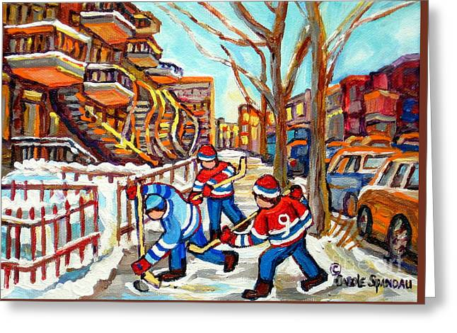 Hockey Game Near Montreal Staircases Winter Scenes Paintings Carole Spandau Greeting Card by Carole Spandau