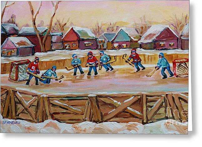 Country Hockey Greeting Cards - Hockey Game-outdoor Hockey -beautiful Canadian Winter Landscape-hockey Heroes-carole Spandau Greeting Card by Carole Spandau