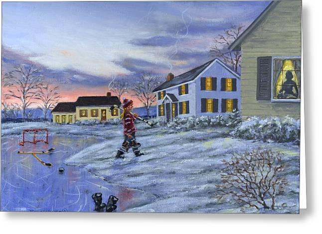 Hockey Paintings Greeting Cards - Hockey Girl Greeting Card by Richard De Wolfe