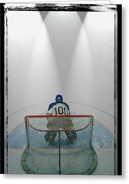 Professional Ice Hockey Greeting Cards - Hockey Goalie In Crease Greeting Card by Don Hammond