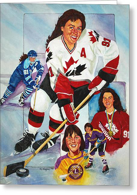 Puck Paintings Greeting Cards - Hockey Hall of Famer Geraldine Heaney Greeting Card by Derrick Higgins