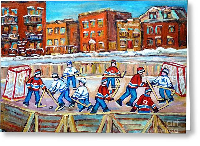 Outdoor Hockey Greeting Cards - Hockey In The City Ndg Outdoor Hockey Rink Neighborhood Kids Bring Montreal Memories To Life Greeting Card by Carole Spandau